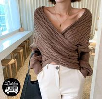Cable Knit Casual Style V-Neck Plain Medium Office Style