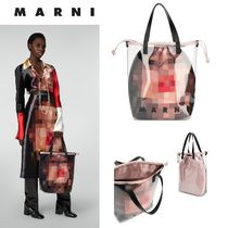 MARNI Leather Crystal Clear Bags PVC Clothing Logo Totes