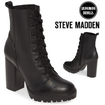Steve Madden Lace-up Casual Style Plain Leather Block Heels Lace-up Boots