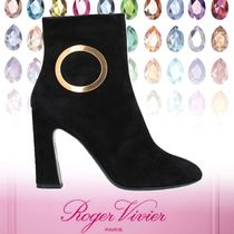 Roger Vivier Round Toe Leather Elegant Style Chunky Heels
