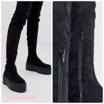 ASOS Platform Casual Style Suede Plain Over-the-Knee Boots