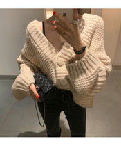 Cable Knit Casual Style Wool Puffed Sleeves V-Neck