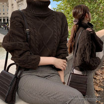 Cable Knit Short Casual Style Wool Nylon Long Sleeves Plain