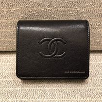 CHANEL ICON Unisex Plain Leather Small Wallet Folding Wallets