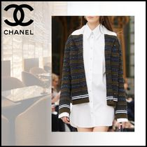 CHANEL Casual Style Long Sleeves Plain Cotton Long Party Style