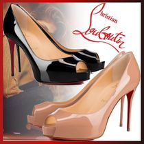 Christian Louboutin Open Toe Platform Casual Style Enamel Plain Leather