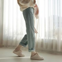 Casual Style Corduroy Plain Long Wide Leg Pants