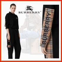 Burberry Tartan Other Plaid Patterns Casual Style Unisex Long Sleeves