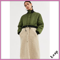 ASOS Faux Fur Blended Fabrics Street Style Plain Long MA-1