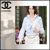 CHANEL Long Sleeves Plain Cotton Party Style Elegant Style