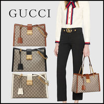 GUCCI Monogram Casual Style Canvas Blended Fabrics Chain Leather
