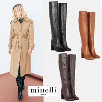 minelli Plain Leather Block Heels Elegant Style High Heel Boots