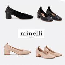 minelli Square Toe Casual Style Plain Block Heels