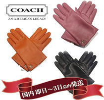 Coach Unisex Wool Plain Leather Logo Leather & Faux Leather Gloves