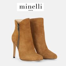 minelli Plain Pin Heels Elegant Style Ankle & Booties Boots