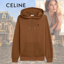 CELINE Triomphe Wool Cashmere Silk Rib Street Style Long Sleeves Plain
