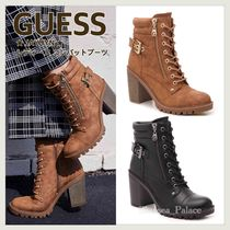 Guess Round Toe Lace-up Casual Style Faux Fur Street Style Plain