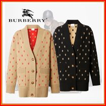 Burberry Monogram Casual Style Wool Cashmere Nylon Long Sleeves