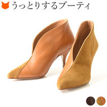PURA LOPEZ Suede Plain Leather Pin Heels Elegant Style