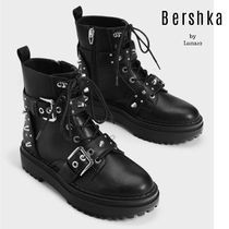 Bershka Platform Lace-up Casual Style Plain With Jewels