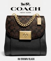 Coach Monogram Casual Style Canvas Street Style Leather