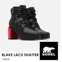 SOREL Lace-up Casual Style Street Style Plain Leather Block Heels