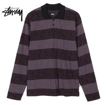 STUSSY Stripes Street Style Long Sleeves Polos