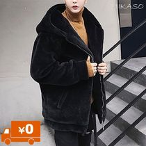 Unisex Faux Fur Street Style Plain Long Oversized Jackets