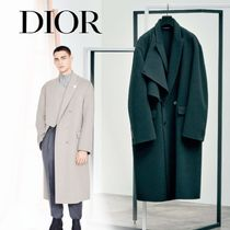 Christian Dior Wool Plain Long Oversized Chester Coats
