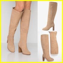 TED BAKER Round Toe Suede Plain Block Heels Boots Boots