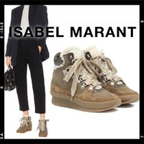 Isabel Marant Plain Toe Mountain Boots Rubber Sole Casual Style Suede