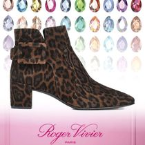 Roger Vivier Leopard Patterns Square Toe Casual Style Leather