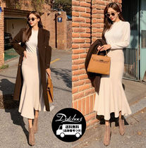 Flared Skirts Casual Style Nylon Plain Long Office Style