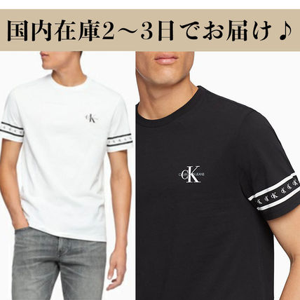 Calvin Klein More T-Shirts U-Neck Cotton Short Sleeves Logo T-Shirt Logo T-Shirts
