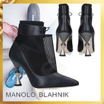 Manolo Blahnik Plain Leather Pin Heels Ankle & Booties Boots