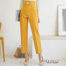 Wool Plain Medium Office Style Cropped & Capris Pants