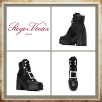 Roger Vivier Round Toe Rubber Sole Casual Style Plain