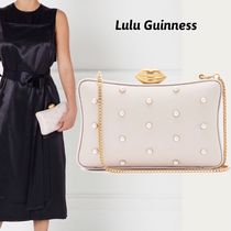 Lulu Guinness 2WAY Chain Plain Leather Party Style Elegant Style Clutches