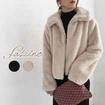 Stand Collar Coats Short Faux Fur Plain Cashmere & Fur Coats