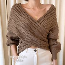 Short Casual Style V-Neck Long Sleeves Plain Cropped