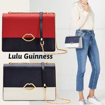 Lulu Guinness Casual Style Chain Plain Leather Elegant Style Shoulder Bags