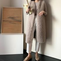 Casual Style Street Style Plain Long Fur Vests Office Style