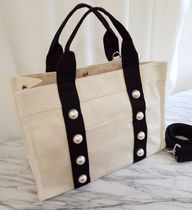 Casual Style Canvas Plain Office Style Totes