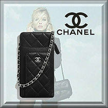 CHANEL Casual Style Lambskin Blended Fabrics Chain Plain Leather