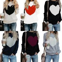 Crew Neck Cable Knit Heart Casual Style Bi-color
