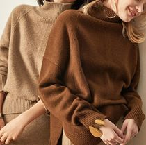Casual Style Cashmere Long Sleeves Plain Medium High-Neck