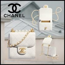 CHANEL Casual Style Chain Leather Party Style With Jewels