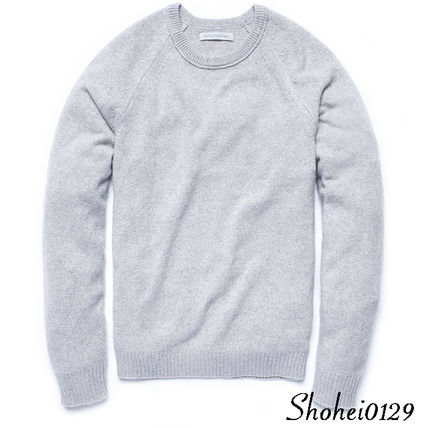 Crew Neck Pullovers Unisex Wool Cashmere Long Sleeves Plain