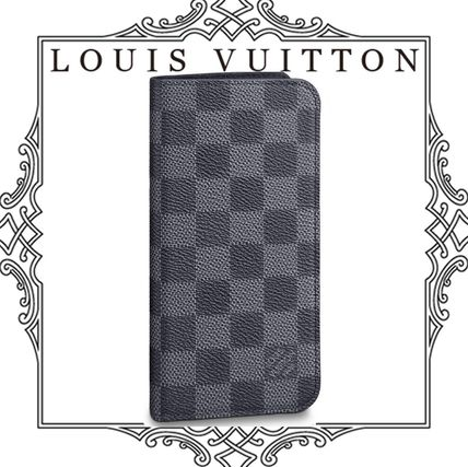 Louis Vuitton Smart Phone Cases Other Check Patterns Unisex Blended Fabrics Leather