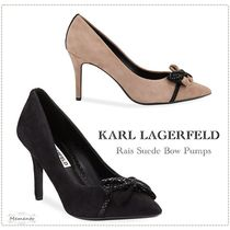 Karl Lagerfeld Suede Pointed Toe Pumps & Mules